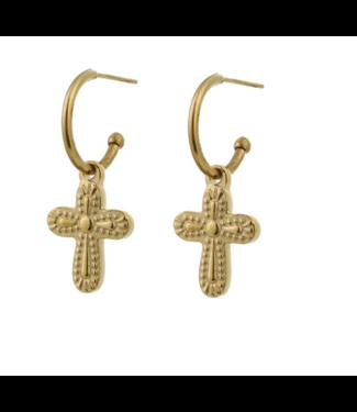 Go Dutch Label Earrings Big Cross Gold