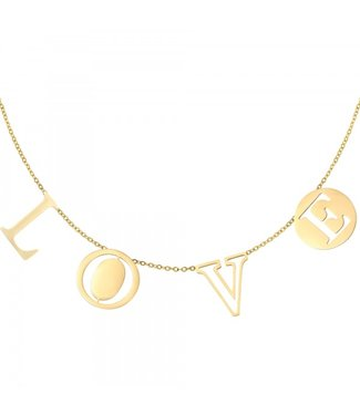 Necklace Letters Love Gold