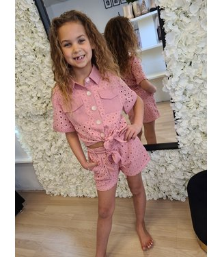 GIRLS Broderie Set Pink