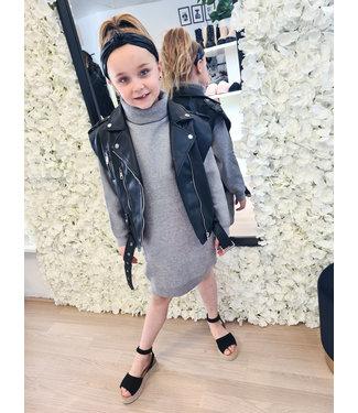 GIRLS Leather Gilet Black