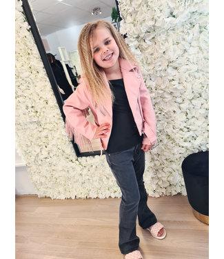 GIRLS Franje Leather Jacket Pink