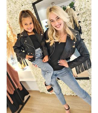 GIRLS Franje Leather Jacket Black