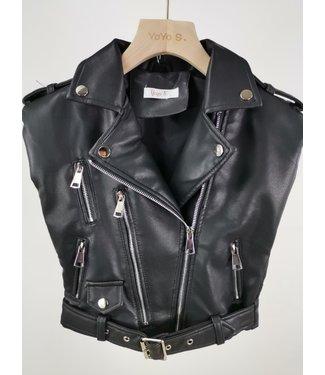 Leather Gilet Black