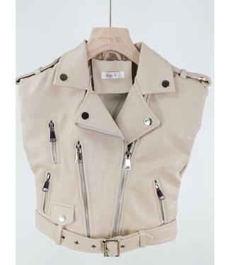 Leather Gilet Beige