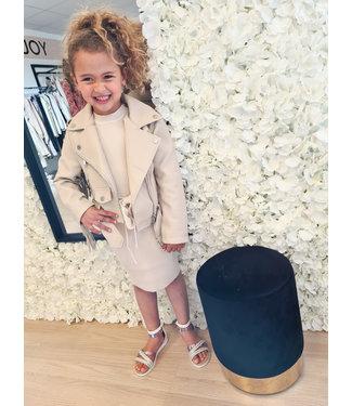 GIRLS Franje Leather Jacket Beige