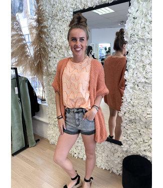 AMBIKA Knitted Short Sleeve Vest Orange