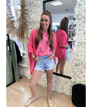 AMBIKA Knitted Short Sleeve Vest Pink