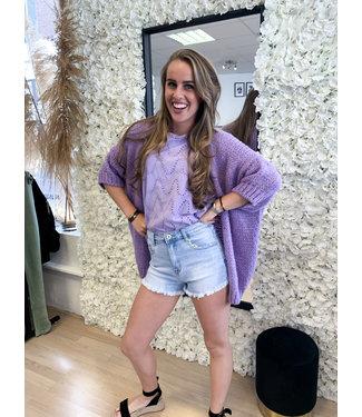 AMBIKA Knitted Short Sleeve Vest Purple