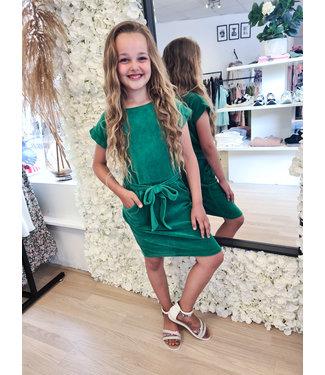 GIRLS Velvet Dress Green