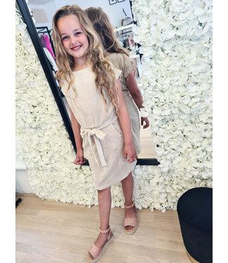 GIRLS Velvet Dress Beige