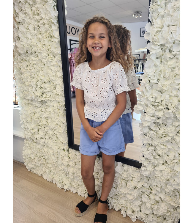 GIRLS Broderie Top White