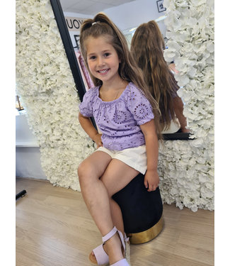 GIRLS Broderie Top Purple