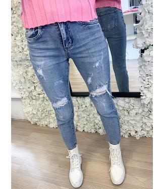 Damage Mom Jeans Blue