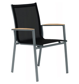 Tierra Outdoor Tierra Outdoor Foxx Stackable Chair Charcoal - Teak