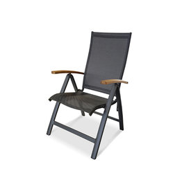 OCEO Oceo Elegance recliner with teak arms dark gray