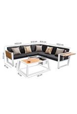 Higold Higold York corner loungeset 4-Dlg WIT-zwart met teak