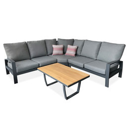 Tierra Outdoor Tierra Outdoor Valencia 4-piece BIG corner set Charcoal teak