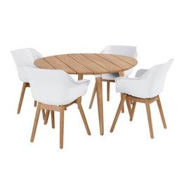 Hartman Hartman 5 piece Sophie studio teak set with table 120cm round WIT TEAK