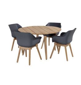 Hartman Hartman set 5-delig Sophie studio teak set met tafel 120cm rond Xerix grijs -teak