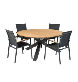 Tierra Outdoor Tierra Outdoor 5-piece diningset foxx chairs and table Omnigo 150cm round GRAY-TEAK