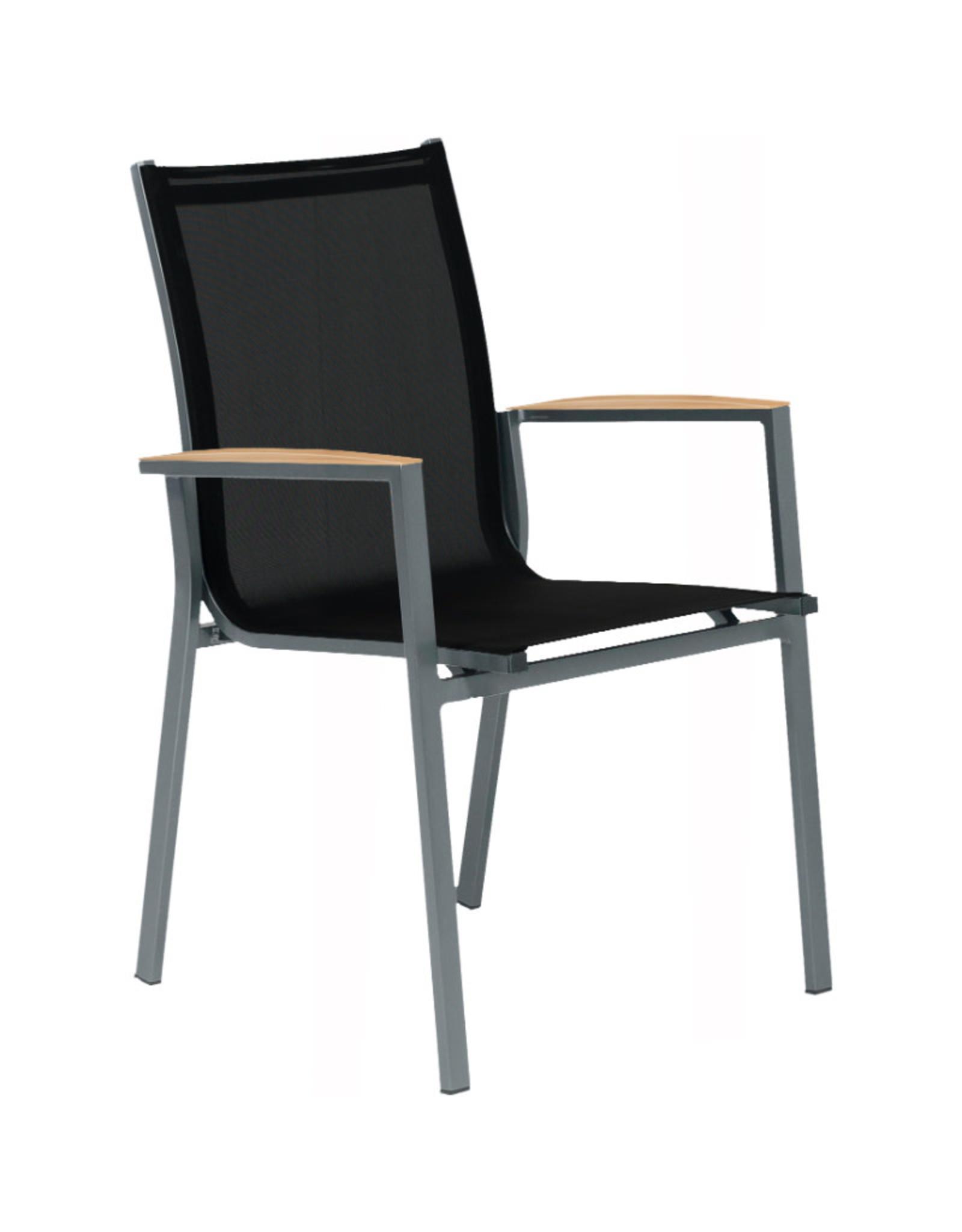 Tierra Outdoor Tierra Outdoor 5-delig set met foxx stoelen teak en tafel Omnigo 150cm rond GRIJS-TEAK