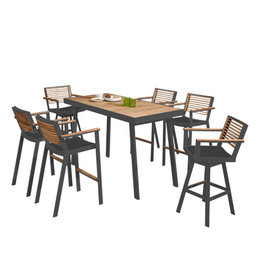 Higold Higold 7-piece York Bar set CHARCOAL GRAY-TEAK