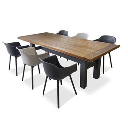 Hamilton Bay OUTDOOR Yasmani /Panama set 7-piece with armchairs light gray-darkgray with Yasmani table 240cm gray-teak