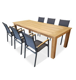 Hamilton Bay OUTDOOR Hercules /Foxx set 7-piece with 6 armchairs foxx teak with table 240cm