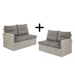 Tierra Outdoor Tierra Outdoor Fredo Lounge set of 2-Seater Left and Right Weathered Grey