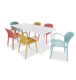 Hamilton Bay OUTDOOR Cosmo /Miami set 7-delig met 6 armstoelen Miami blauw-geel-rood met COSMO tafel 180x100cm wit