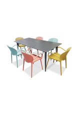 Hamilton Bay OUTDOOR Cosmo /Miami set 7-delig met 6 armstoelen Miami blauw-geel-rood met COSMO tafel 180x100cm grijs