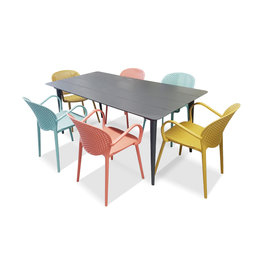 Hamilton Bay OUTDOOR Cosmo /Miami set 7-piece with 6 armchairs Miami blue-yellow-rood with COSMO table 180x100cm gray
