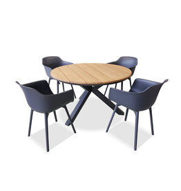 Hamilton Bay OUTDOOR Orbital /Panama set 5-piece with 4 armchairs Panama gray with Orbital table 120cm gray-Teak