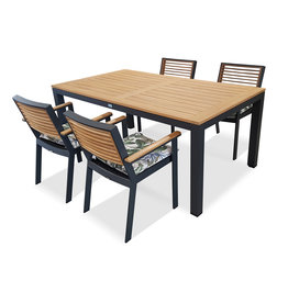 Hamilton Bay OUTDOOR Briga /York set 5-piece with 4 armchairs Higold York with Briga table 180cm gray-teak