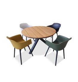 Hamilton Bay OUTDOOR Orbital /Panama set 5-piece with 4 armchairs Panama 4colors with Orbital table 120cm gray-Teak