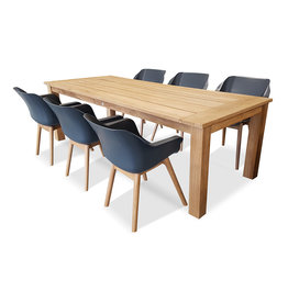 Hamilton Bay OUTDOOR Hercules /sophie teak set 7-piece with 6 armchairs sophie teak gray with Hercules table 240cm