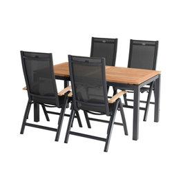 Hartman Hartman 5-delige diningset Troy standenstoel met Sonata Table 160x90cm donkergrijs met teak