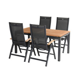 Hartman Hartman 5-piece dining set Troy recliner with Sonata Table 160x90cm dark gray with teak