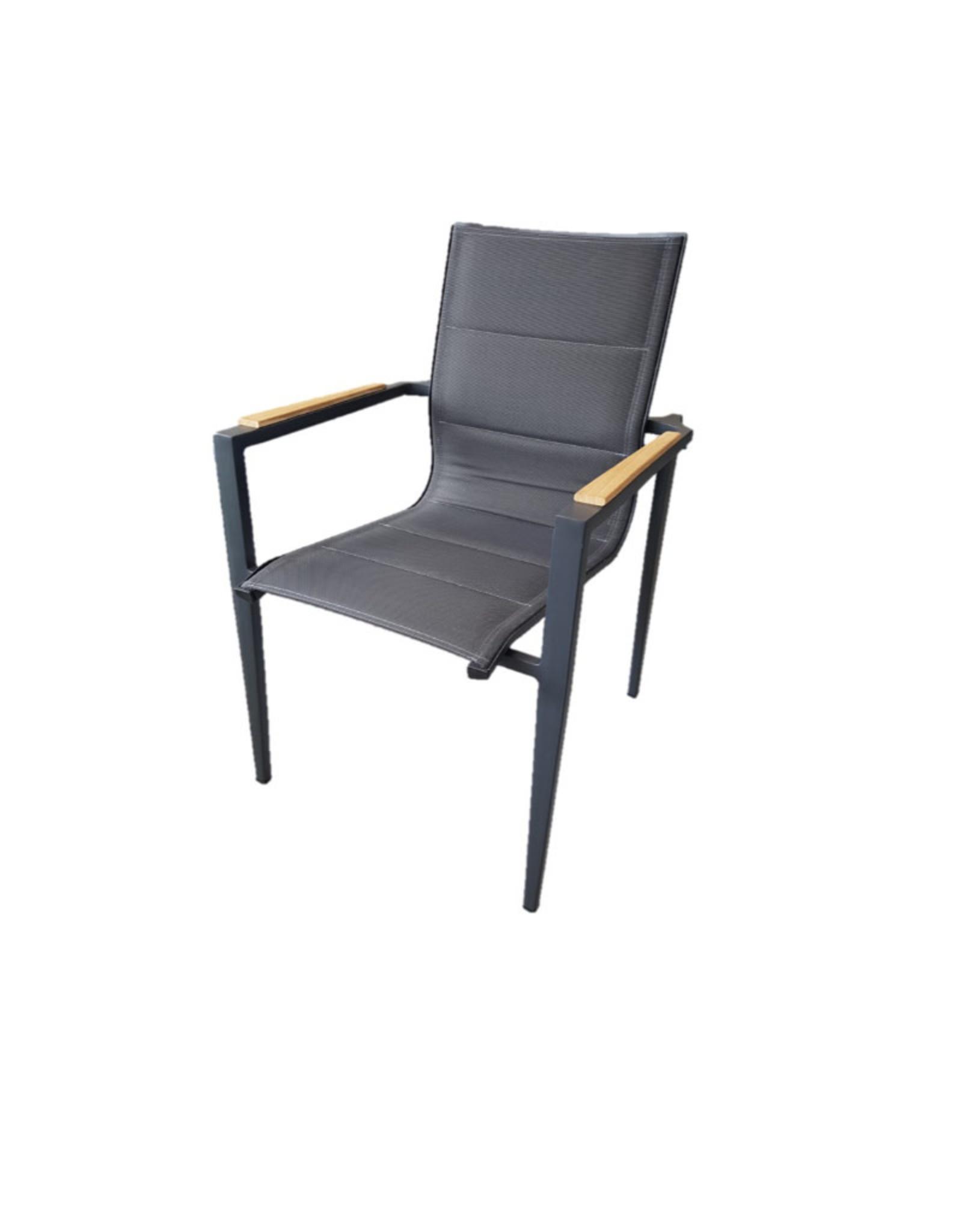 Hamilton Bay OUTDOOR Hamilton Bay OUTDOOR Aurora alu. Dining Chair antraciet +teak, dubbel textileen