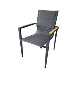 Hamilton Bay OUTDOOR Hamilton Bay OUTDOOR Aurora alu. Dining Chair dark gray +teak, dubbel textileen