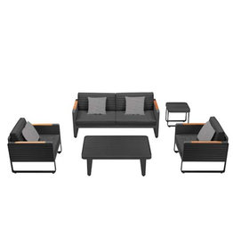 Higold Copy of Higold YORK Three-seater sofa set 5dlg zwart/teak