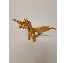 Goude plastic speelgoed draak - Afmeting; 18 centimeter hoog