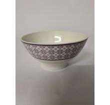 Muesli bowl van porselein met rand met motiefje ±500 ml - set van 2