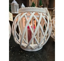 Windlicht wilgen lantaarn Amrum crème wit 24 cm