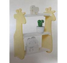 Houten Kinder wandplank & -rek Giraffe en Dinosaurus 3 plankjes