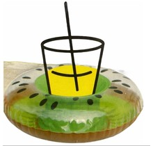 Opblaasbare Bekerhouder Groene Kiwi voor je glas of blikje voor in het zwembad