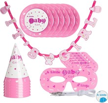 Babyshower versiering - Meisje - decoratie - roze - 19-delige set