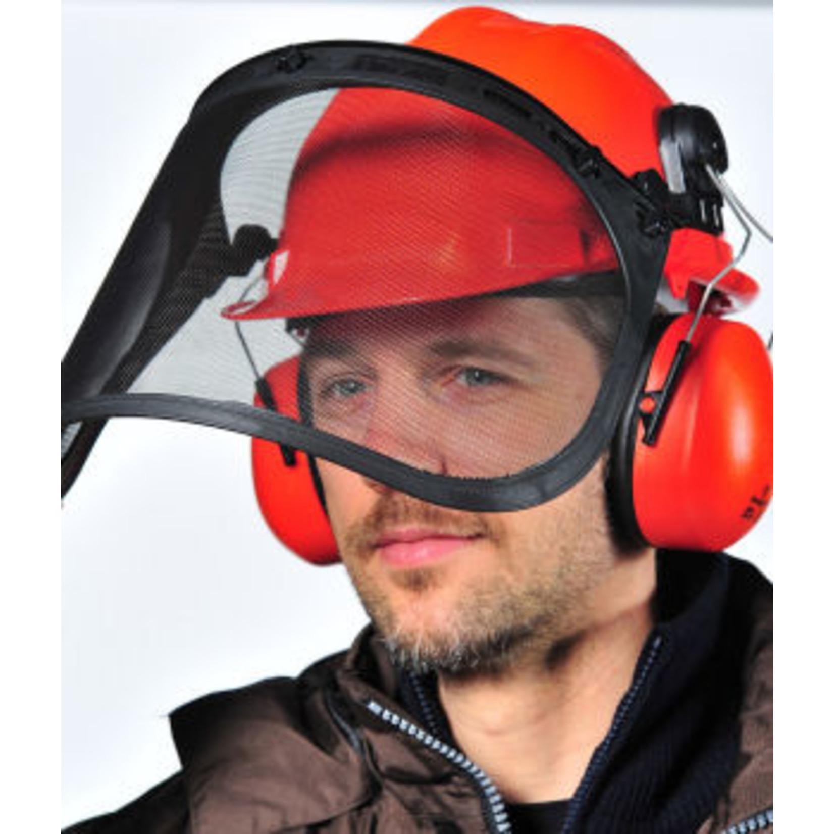 Veiligheidshelm met vizier en gehoorbescherming