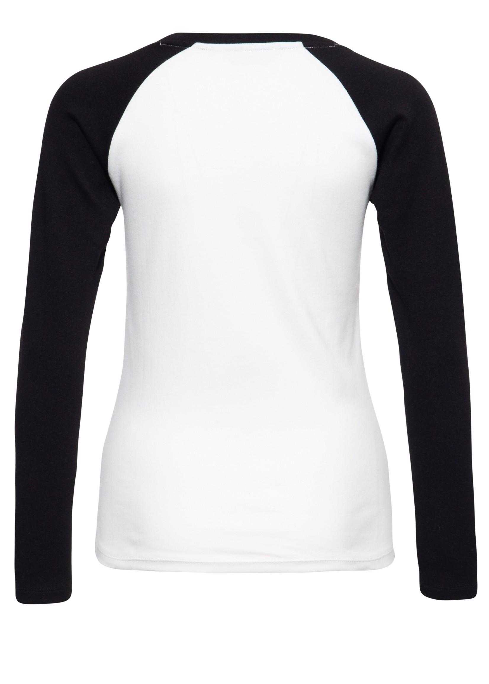 Queen Kerosin Queen Kerosin Build It Up Long Sleeve T-shirt in Off-White and Black
