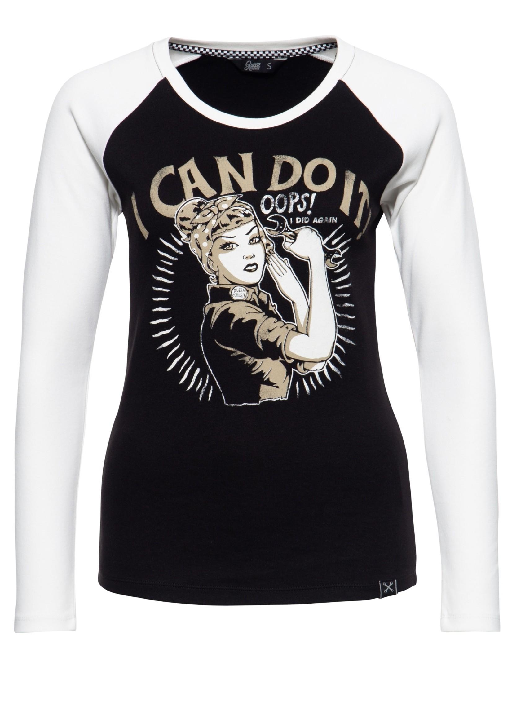 Queen Kerosin Queen Kerosin I Can Do It Long Sleeve T-shirt in Black and Off-White